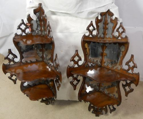 Pair Ornate Walnut Mirrorback Hanging Corner Shelves